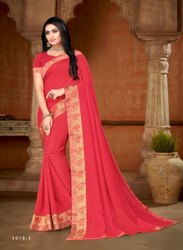Party Wear Embroidered Silk Dyed Saree, 6.3 m (with blouse piece)