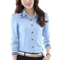 Full Sleeve Blue Ladies Corporate T Shirt, Size: Large