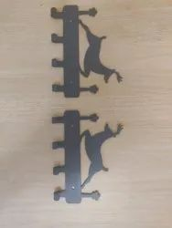 Metallic Fossil gray and cobalt blue Laser cutted metal hook/hanger/mobile stand gifting purpose, Size: 5.5 inches each
