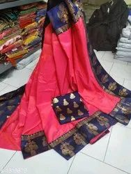 Party Wear Printed Silk Saree, 5.5 m (separate blouse piece)