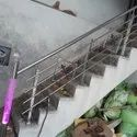 Silver Tempered Glass Rust Proof Stainless Steel Staircase Railing