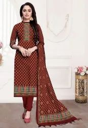 Semi-Stitched Woolen Ladies Suit with Shawl, Packaging Type: Plastic Bag