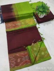 Festive Wear Plain Tripura silk sareed, With blouse piece