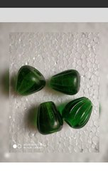 Cone Big Hole Green Glass Beads