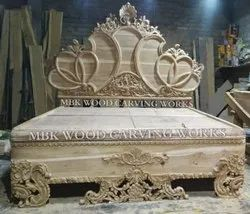 Mbk wood Teakwood Wooden King Maharaja bed, Size: 7ft By 7ft