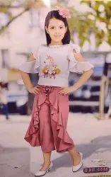 Lycra Cotton Girl Short Plazo Top, Size: 20x30