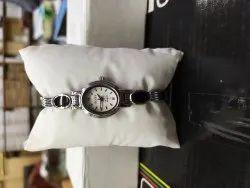 White Party Wear Ladies Steel Watch