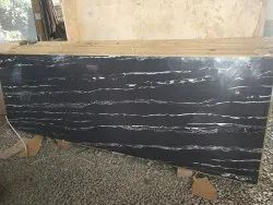 Polished Finish Black Waves Marble, Thickness: 16 mm, Size: 2400*800