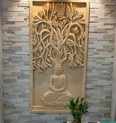 Decorative Stone Buddha Tree Mural