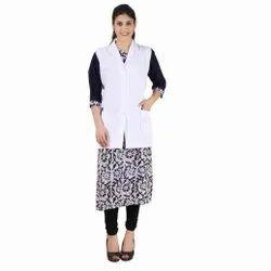 White Lab coat apron, For Hospital, Machine wash
