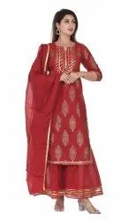 Red Gotta Work Kurti With Sharara Set And Duptta Set