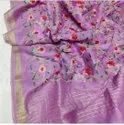 Silk Linen Embroidery Work Sarees