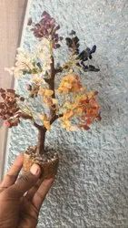Multicolor Stone & wooden Crystal Tree, For Decoration