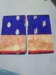 Wedding Wear Border Full Sotten Banarasi Silk Saree, 6 m (with blouse piece)