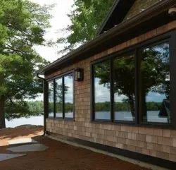 Glossy White Aluminium Window, For Home