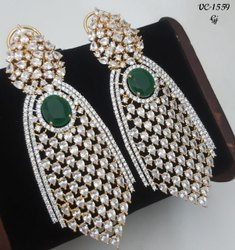 Brass Elegant American Diamond Earrings, Size: Free