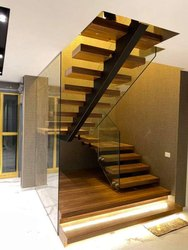 Transparent, black Mild steel and stainless steel Custom Made Staircases