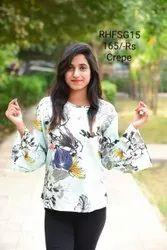 Casual Wear 3/4Th Sleeves Ladies printed tops, Size: Medium