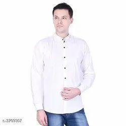 Plain White Modern Men Shirts, Size: 40