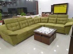 Solid Wood L Shape Designer Sofa Set