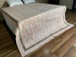 Cotton Hand Block Printed Flower Print Machine Quilt, Size: 90 x 108 Inches