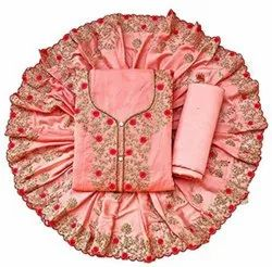 Light Pink Patiala Salwar Peach Silk Suit With Heavy Embroidered Dupatta