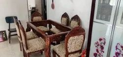 Anam Art Brown Wooden carving dining table set with 6 chair, For Home, Size: 5x3