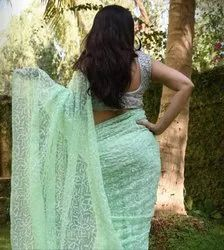 Lucknowi Chikan Designer Full Tepchi Hand Work Faux Georgette Sarees with Blouse