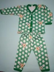 Green Kids Poly Cotton Printed Suit