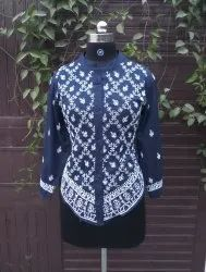 Cotton Plain Beautiful Chikankari Lucknowi Indigo Ladies Shirt