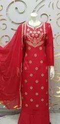 Banarasi Silk Suit With Santoon Bottom
