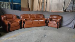 Brown Leather Sofa Set, For Home