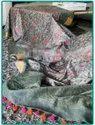 Silk Linen Thread Embroidery Work Sarees
