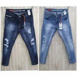Faded Blue Biker Jeans