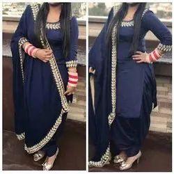 Blue Punjabi Ladies Salwar Suit, Handwash
