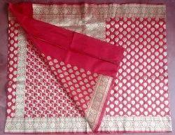 Red Ladies Designer Border Party Wear Saree, 5.5 m (separate blouse piece)