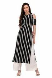 Crepe Stripe Print, Check/stripes, Black
