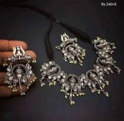 Choker Oxidised Trishul Ganesha Necklace, For Party Wear
