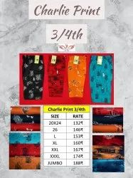 Heavy soft Cotton Charlie Print 3/4th, Size: 20to26 And L To 4xl