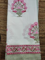Hand Block Printed Cotton Fabric Bed Sheet Jaipuri Print