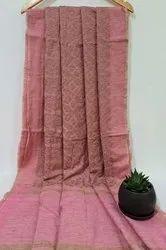 Jute Organza Chikan Embroidery Work Sarees