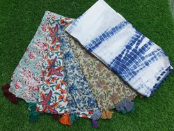 Meera Handicrafts Tie Dye Cotton Stole With Tassel