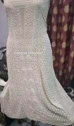 Unique Chikan Georgette Hand Embroidered Suit, Handwash
