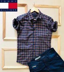 6 colors Collar Neck Tommy Hilfiger Mens Checks Shirt, Handwash, Size: M To Xxl