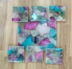 Agate slab with coasters, For Countertops, Thickness: 30 mm