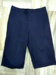 Navy Blue Cotton Lycra Shorts / Capris, Size: M To Xxl