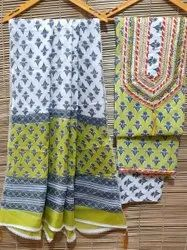 Hand Block Printed Gota Patti Work 3 Pcs Cotton Suit Materials