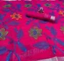 Linen Saree With Embroidery
