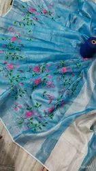 Embroidery Linen Tissue Saree
