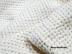 Handmade White Kantha Quilts